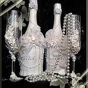 """Свадебный салон ручной работы. Ярмарка Мастеров - ручная работа Декор свадебных бутылок """"Бал невест"""", набор. Handmade."""