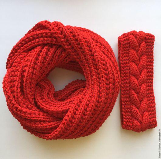 Шарфы и шарфики ручной работы. Ярмарка Мастеров - ручная работа. Купить Комплект снуд в 2 оборота + повязка. Handmade.