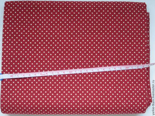 """Шитье ручной работы. Ярмарка Мастеров - ручная работа. Купить Лен """"Красный в горошек"""" (арт.9607) Корея. Handmade. Разноцветный"""