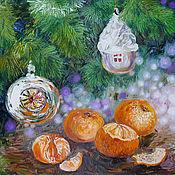 """Картины и панно ручной работы. Ярмарка Мастеров - ручная работа картина маслом """"Новогоднее"""". Handmade."""