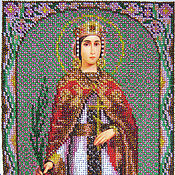 Картины и панно handmade. Livemaster - original item Beaded embroidered icon of St.. Vmch. Catherine. Handmade.