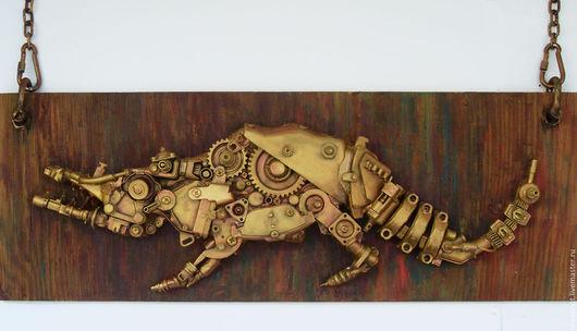 """Дизайн интерьеров ручной работы. Ярмарка Мастеров - ручная работа. Купить Стимпанк-панно """"Механический крокодил"""". Handmade. Стимпанк механизмы"""