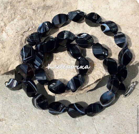Для украшений ручной работы. Ярмарка Мастеров - ручная работа. Купить .Агат 12 мм черный челнок спираль огранка бусины камни для украшений. Handmade.