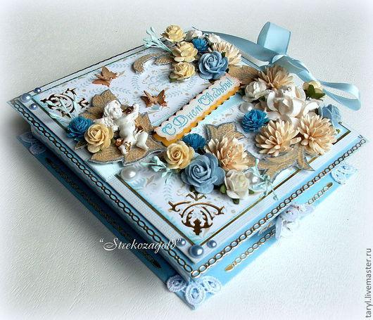 """Открытки на все случаи жизни ручной работы. Ярмарка Мастеров - ручная работа. Купить Свадебная Коробочка-открытка""""Версаль"""". Handmade. Голубой, бабочки"""