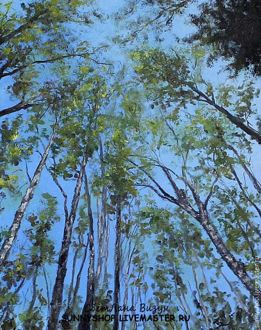 """Пейзаж ручной работы. Ярмарка Мастеров - ручная работа. Купить Картина маслом в раме """"Березы в небе"""". Handmade. Голубой, деревья"""