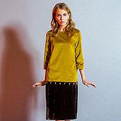 Одежда ручной работы. Ярмарка Мастеров - ручная работа Платье-конструктор горчичное с заменяемой коричневой юбкой. Handmade.