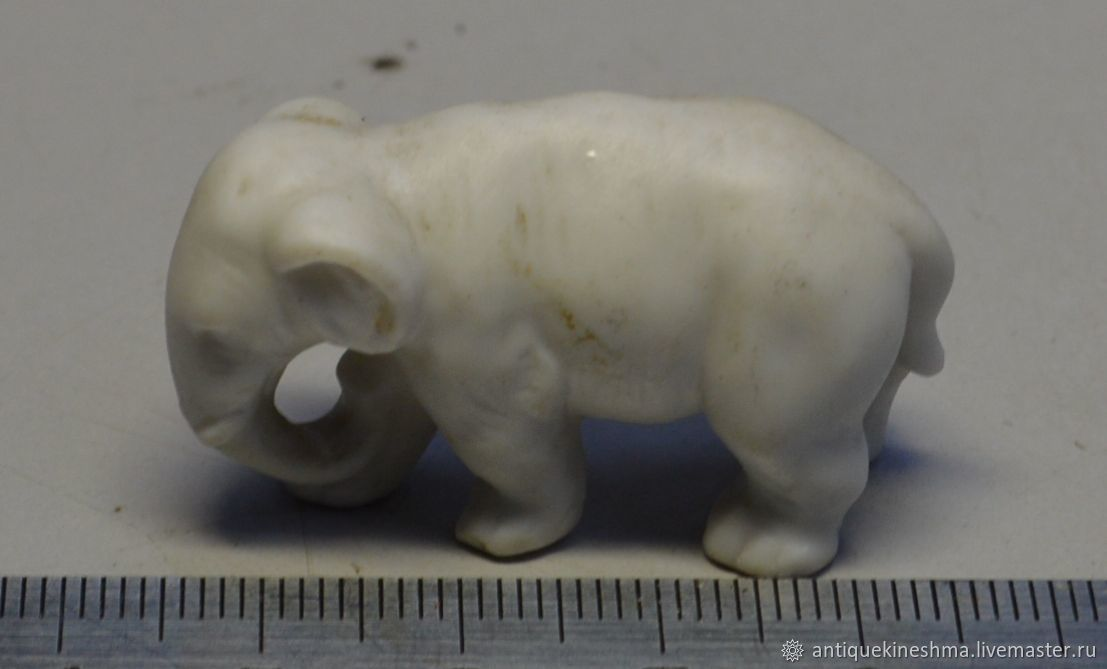 Statuette little Elephant biscuit 19th century, Vintage interior, Kineshma,  Фото №1