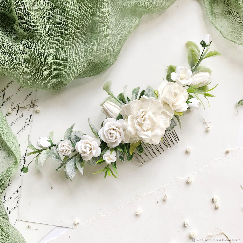 Гребень для невесты с молочными цветами, Украшения, Санкт-Петербург, Фото №1