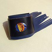Украшения ручной работы. Ярмарка Мастеров - ручная работа Кожаный браслет-кафф Апельсин. Handmade.
