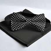 Аксессуары handmade. Livemaster - original item Tie black polka dot Aesthetics pocket square black. Handmade.