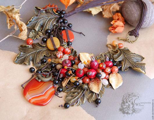 Колье, бусы ручной работы. Ярмарка Мастеров - ручная работа. Купить Колье из натуральных камней Осень с агатом. Handmade.