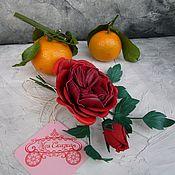 Цветы и флористика handmade. Livemaster - original item Leather flowers. Sprig of rose