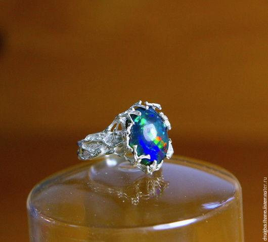 """Кольца ручной работы. Ярмарка Мастеров - ручная работа. Купить Кольцо """"Silver Forest"""" с черным опалом. Handmade. Синий"""