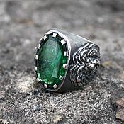 Украшения handmade. Livemaster - original item A ring with an emerald lion. Handmade.