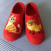 """Обувь ручной работы. Ярмарка Мастеров - ручная работа Тапочки """"Котейки"""". Handmade."""