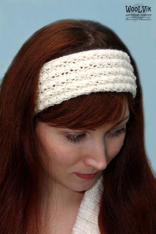 """Повязки ручной работы. Ярмарка Мастеров - ручная работа. Купить Повязка на голову вязаная """"Лилия"""". Handmade. Белый, молочный"""