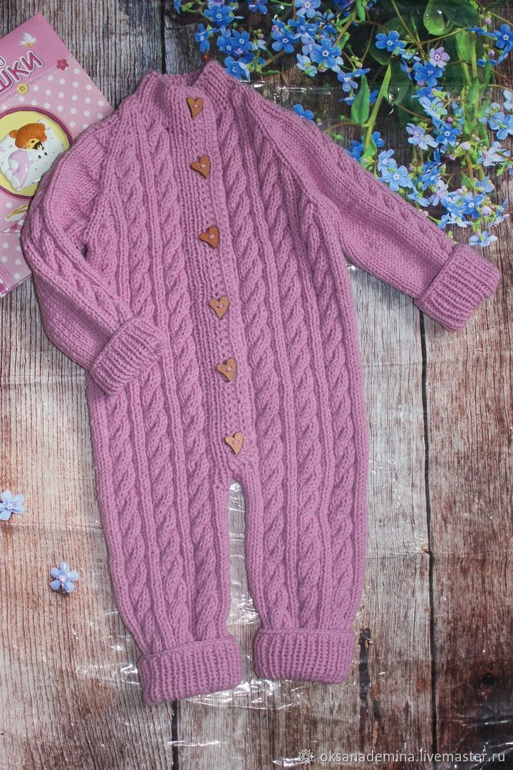 Unisex Clothing handmade. Livemaster - handmade. Buy Knitted Romper for baby 62 R.Handmade, turquoise, dark gray
