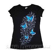 Одежда handmade. Livemaster - original item T-shirt  hand painted butterflies 3D. Handmade.