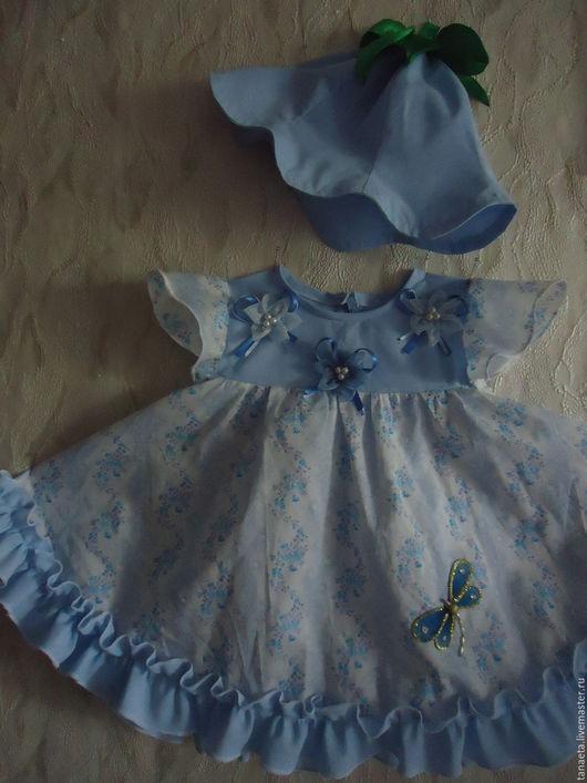 Одежда для девочек, ручной работы. Ярмарка Мастеров - ручная работа. Купить Комплект Колокольчик. Handmade. Голубой, платье