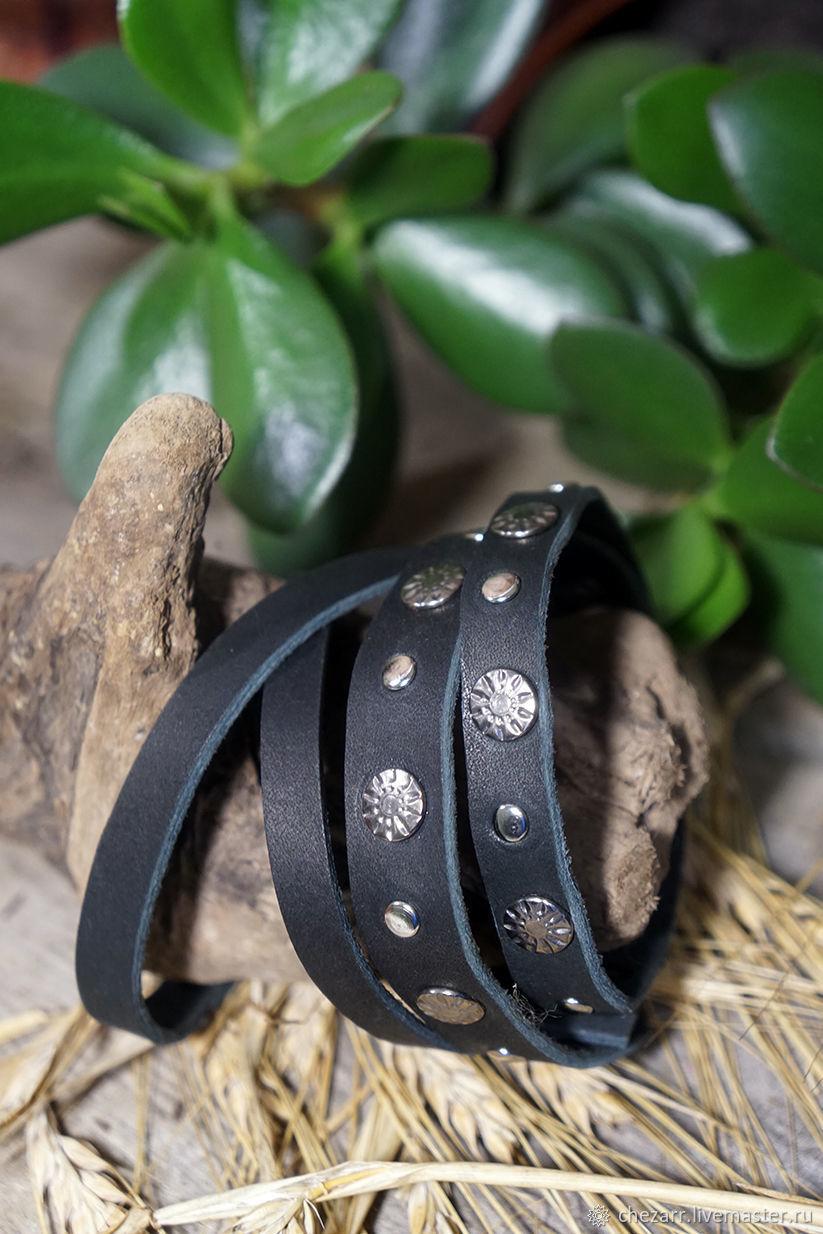 Men leather bracelet-winding (black), Bead bracelet, Chelyabinsk,  Фото №1