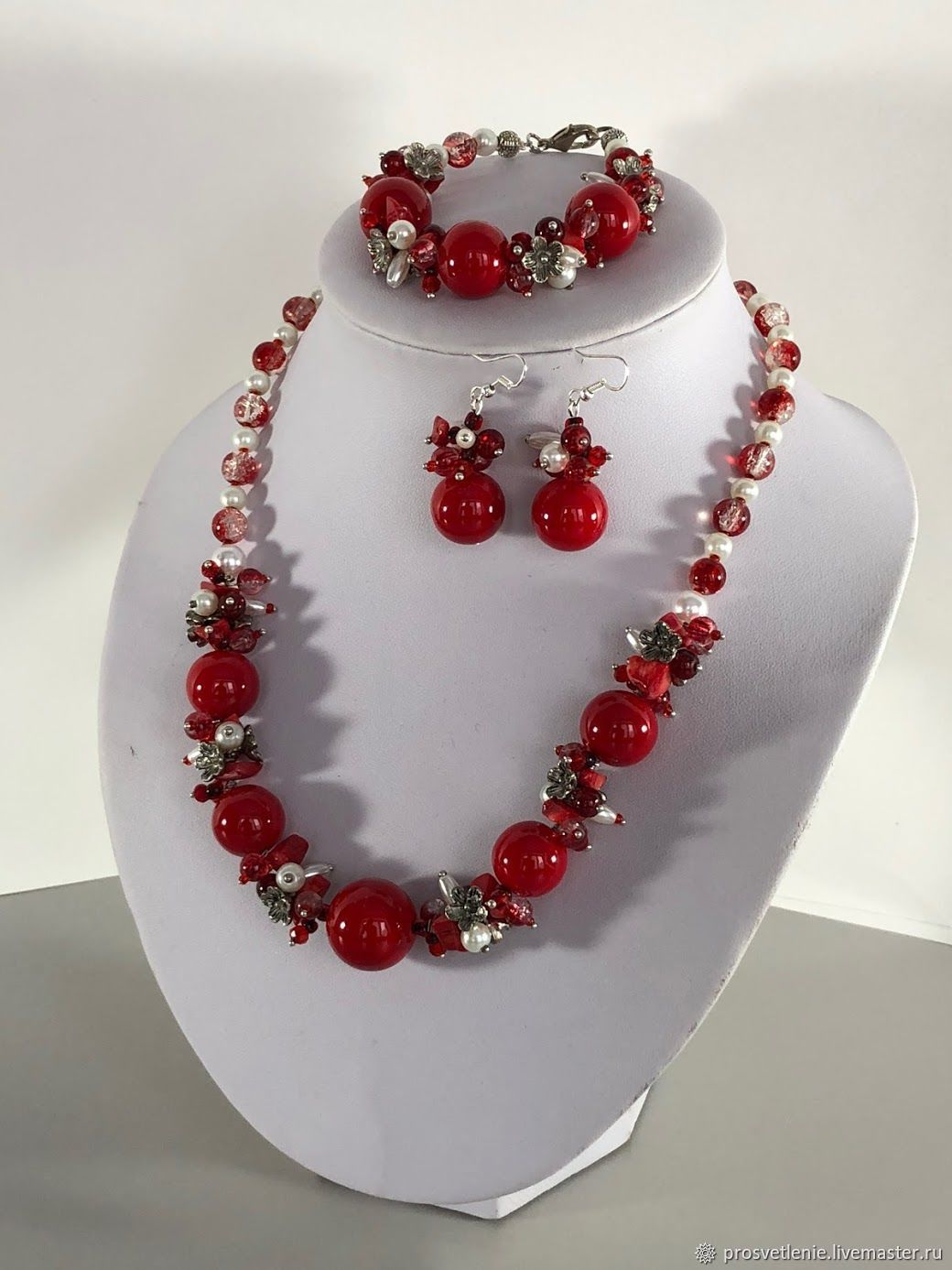 Jewelry set of red coral necklace, bracelet, earrings, Jewelry Sets, Voronezh,  Фото №1