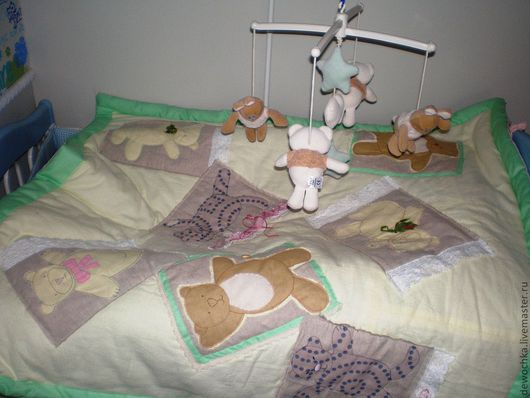 """Детская ручной работы. Ярмарка Мастеров - ручная работа. Купить Одеяло """"Винтажные мишки"""". Handmade. Покрывало, детское, винтаж, кружево"""