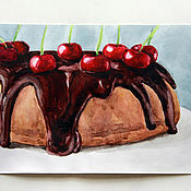 Картины и панно ручной работы. Ярмарка Мастеров - ручная работа Торт с вишней. Акварель.. Handmade.