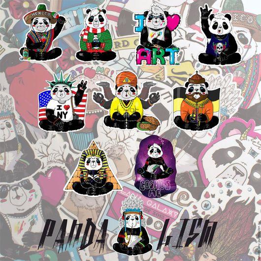 """Иллюстрации ручной работы. Ярмарка Мастеров - ручная работа. Купить Стикерпак """"Pandalizm"""". Handmade. Комбинированный, наклейки, lanagalaxy, животные"""