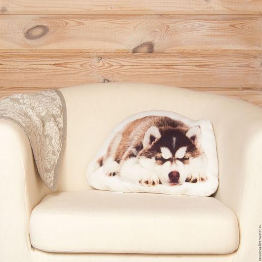 Текстиль, ковры ручной работы. Ярмарка Мастеров - ручная работа. Купить Подушка Хаски – льняная декоративная подушка в виде собаки. Handmade.