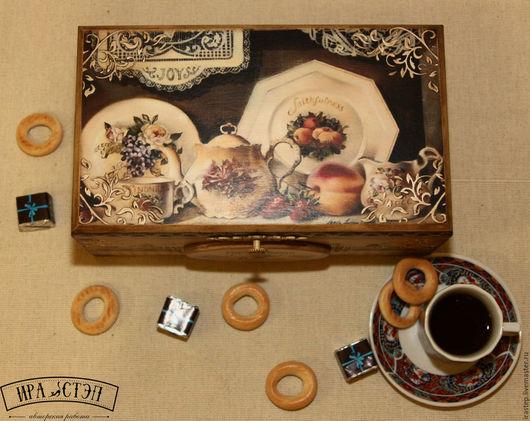 """Кухня ручной работы. Ярмарка Мастеров - ручная работа. Купить Чайная шкатулка """"Английское чаепитие"""". Handmade. Бежевый"""