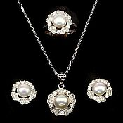Украшения handmade. Livemaster - original item Silver pearl jewelry set. Handmade.