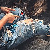 Джинсы ручной работы. Ярмарка Мастеров - ручная работа Комбинезон джинсовый женский. Handmade.