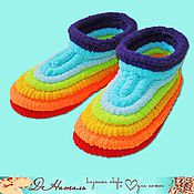 Обувь ручной работы handmade. Livemaster - original item Slippers knitted plush rainbow, knitted shoes, handmade shoes. Handmade.