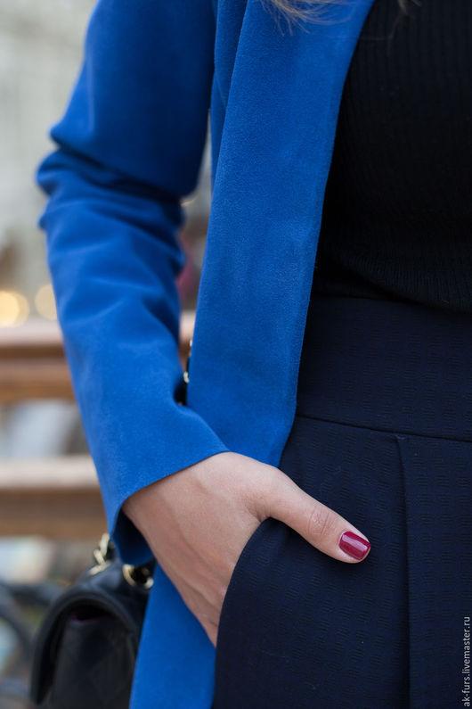 Верхняя одежда ручной работы. Ярмарка Мастеров - ручная работа. Купить Пальто Синие Замшевое из плотной кожи. Handmade. Пальто