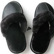 Обувь ручной работы handmade. Livemaster - original item Slippers made of genuine leather and sheepskin. Handmade.