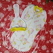 Одежда ручной работы. Ярмарка Мастеров - ручная работа Комплект пеленка-кокон и шапочка-редиска. Handmade.