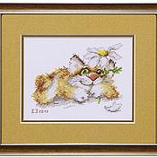 Картины и панно ручной работы. Ярмарка Мастеров - ручная работа Кот с ромашкой.... Handmade.