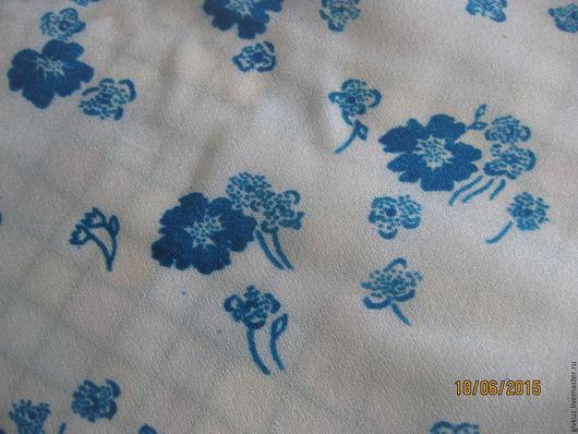 """Шитье ручной работы. Ярмарка Мастеров - ручная работа. Купить Ткань плательная 7м  """"Голубые цветы"""" Винтаж. Handmade. Ткань"""