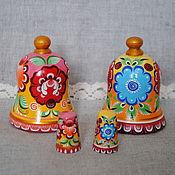 Русский стиль handmade. Livemaster - original item Bell and thimble with Gorodets painting. Handmade.