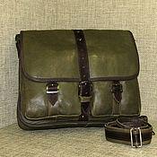 Сумки и аксессуары handmade. Livemaster - original item Men`s leather messenger bag JAZZ khaki. Handmade.