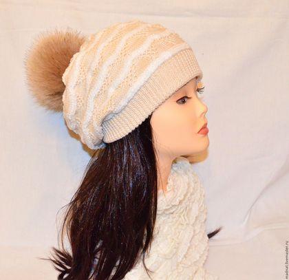 """Шапки ручной работы. Ярмарка Мастеров - ручная работа. Купить """"Аманда"""" двойная осенне-зимняя шапка с помпоном (кремовая). Handmade."""