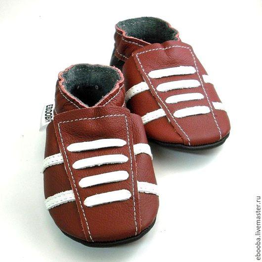 Кожаные чешки тапочки пинетки кроссовки бордовые белые ebooba
