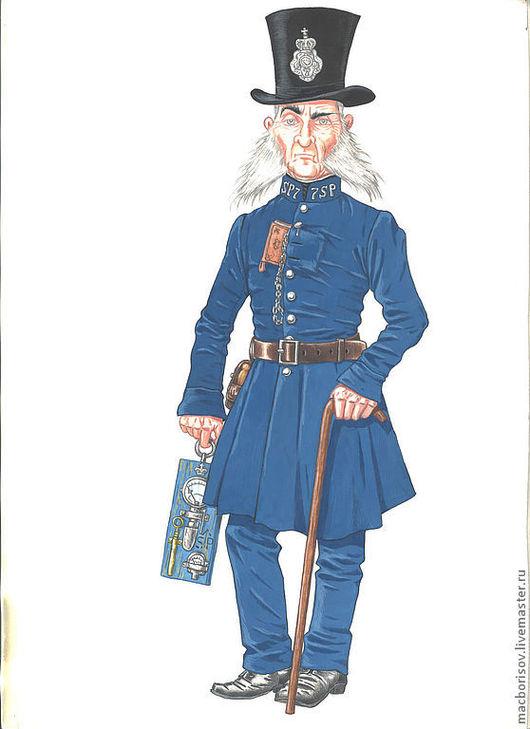 """Люди, ручной работы. Ярмарка Мастеров - ручная работа. Купить Арт """"Инспектор паровой полиции"""". Handmade. Синий, стимпанк, картина"""