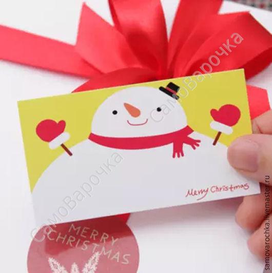 """Упаковка ручной работы. Ярмарка Мастеров - ручная работа. Купить Бирка - карточка """" Снеговик"""", 5 шт/уп. Handmade. Этикетка"""