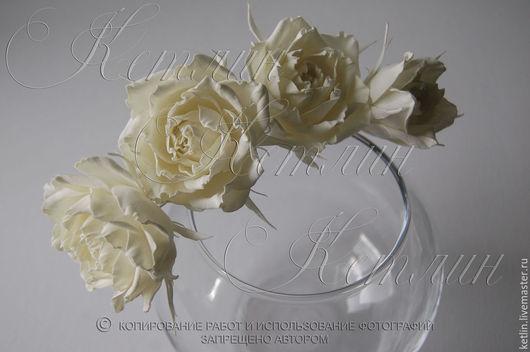 Заколки ручной работы. Ярмарка Мастеров - ручная работа. Купить Шпильки с розами. Handmade. Белый, шпильки для волос, цветы из фоамирана