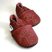 Работы для детей, handmade. Livemaster - original item Maroon Baby Shoes, Leather Baby Shoes, Soft sole baby shoes. Handmade.