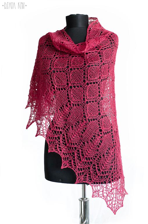 Шали, палантины ручной работы. Ярмарка Мастеров - ручная работа. Купить Малиновая ажурная шаль (100% шерсть). Handmade. Фуксия