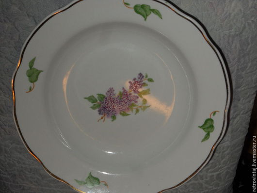 """Винтажная посуда. Ярмарка Мастеров - ручная работа. Купить Суповая тарелка """"Сирень"""". Handmade. Белый, обеденная, советский фарфор, дулево"""