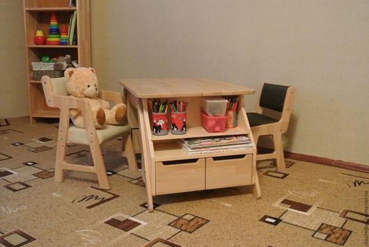 Детская ручной работы. Ярмарка Мастеров - ручная работа. Купить Столик для детского творчества регулируемый деревянный. Handmade. Бежевый