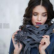 Аксессуары ручной работы. Ярмарка Мастеров - ручная работа Валяный шарф-шаль «Foggy morning». Handmade.